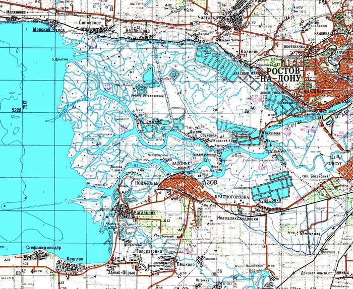 Карта дельты Дона, с помощью