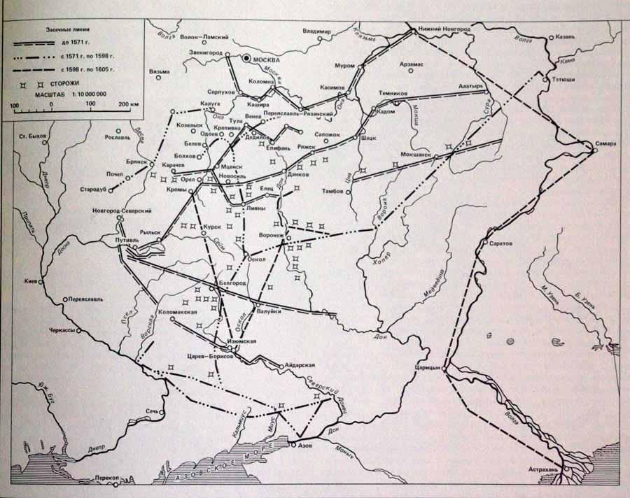 Засечные линии и города-