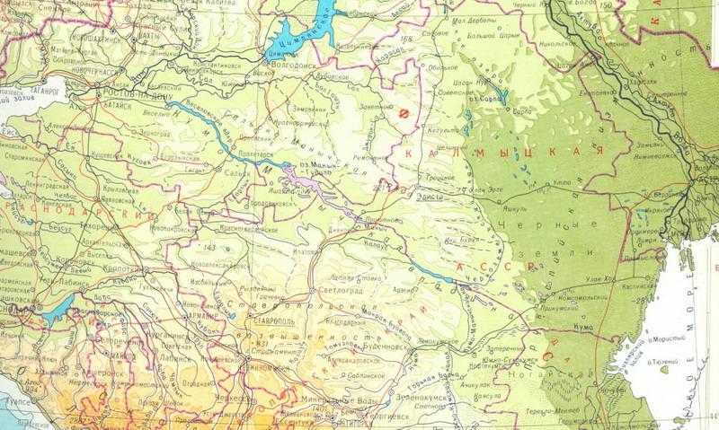 Карта района Манычского канала